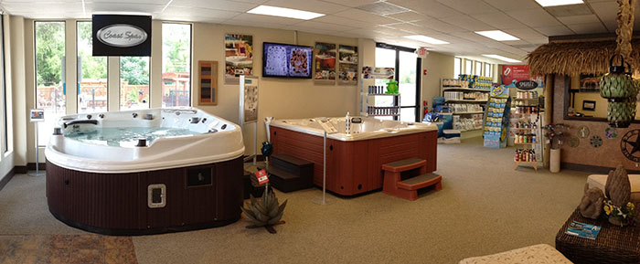Dfw hot tub and patio store southern leisure for Pool showrooms
